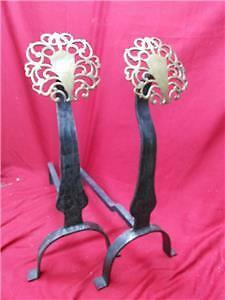 Pair of 2 Two Old Antique Wrought Iron Brass Head Fireplace Andirons Set Mission