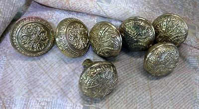 7 Brass Door Knobs Set Aesthetic Movement VIctorian Reproduction Handle Handles