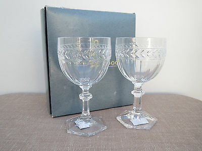 Villeroy and Boch Pair Crystal Drinking Glasses, Wine Glasses, Unused in Box
