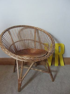Mid century satellite  round wicker  bamboo cane tub chair vintage retro
