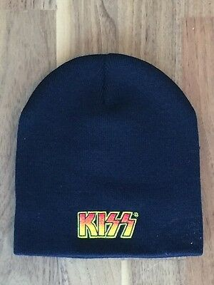 Kiss Beanie Hat - Black, One Size with Embroidered Badge - BRAND NEW