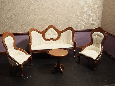 dolls house ivory/walnut victorian high back sofa /chairs /table quality 1.12th