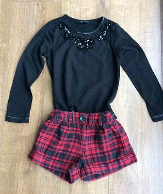 Girls Outfit Tartan Shorts And Black Long Sleeve Top Age 4-5