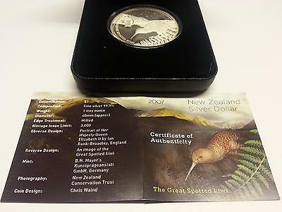 New Zealand Silber Kiwi 2007 PP - Great Spotted kiwi - 1 oz Silver - OVP - Proof