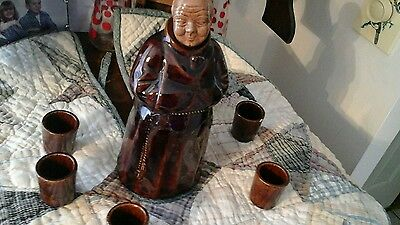 Antique priest minister wine bottle & stopper small cups