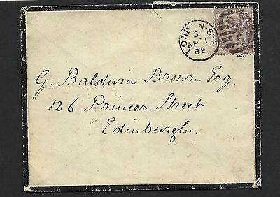 1882 1d Lilac Mourning Cover To Edinburgh