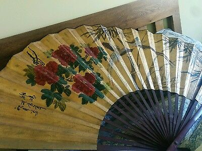 Chinese vintage wall fan large  hand painted flowers and birds paper wood