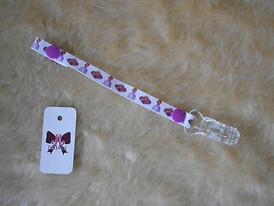 Reborn Baby Doll Dummy/Pacifier Clip made with Disney Sofia the First Ribbon,