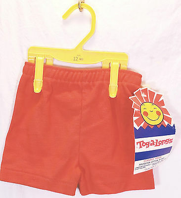 Vtg Toddler 12 months Solid Orange Shorts Tog-a-Longs Durable Press Made in USA