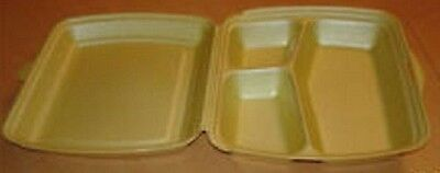 200x 3 Compartment Polystyrene Lunch Boxes HP4-3 FAST FOOD TAKEAWAY BOX (0108)
