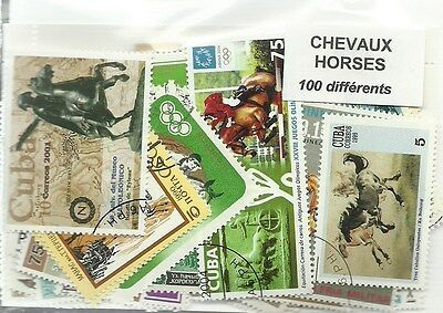 "Lot timbres thematique ""Chevaux"""