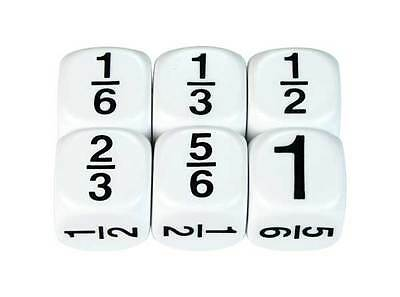 Maths Dice Fractions 6ths Set of 4 Educational Games Kids Numeracy Kids