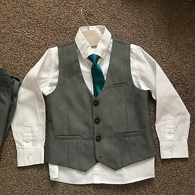 NEXT BOYS 4pc suit Teal Grey. Size 4 WORN ONCE. RRP£46