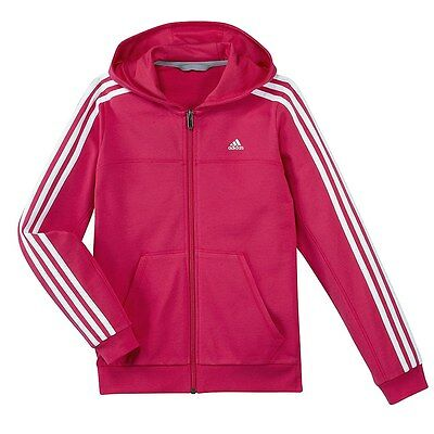 Adidas Girls Casual Pink White FZ Junior Sports Hoodie [F49931] Size 3-4Y RRP£40