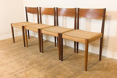 Vintage Retro set of 4 Danish Teak Dining Chairs by Poul Volther for Frem Rojle