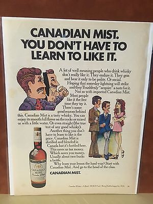 "1970 Vintage ""You Don't Have To Learn..."" Canadian Mist Whiskey  Print Ad"
