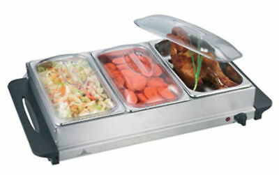 Buffet Warmer Food Server 300w Stainless Steel 3x 2.5L Pan Large Hot Plate Tray