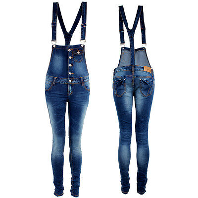 Stretch Skinny Slim Braces Dungarees Ladies Jeans Wrinkle Crushed Denim Overalls