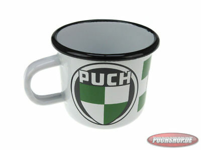 Getränkebecher Puch Emaille Merchandise Drink cup oldtimer Moped Maxi MV
