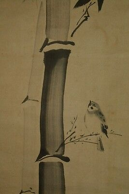 Hanging Scroll Japanese Painting Sparrow Bamboo Japan Antique Asian Old ink a262