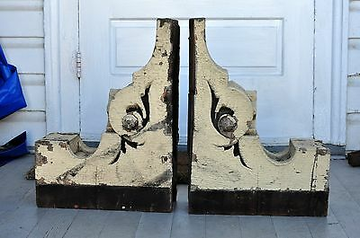 2 Large Vintage Antique Corbels Architectural Wood Salvaged Chippy Paint Corbels
