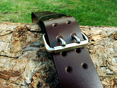 Cristopher Handmade Genuine Brown Leather Belt 2 inch width Two Prong Buckle