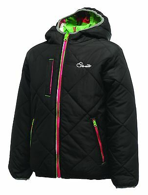 Dare2b Whimsical Girls Hooded Reversible Quilted Insulated Jacket Black 9-10