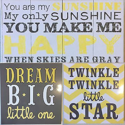 Boy/Girl Nursery Wall Pictures Prints Grey Yellow Chevron Shabby Chic Trendy Set