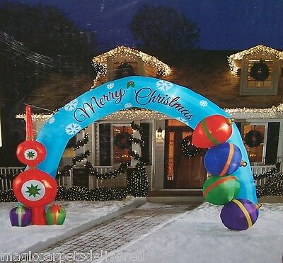 Merry Christmas 18 ft Gemmy Airblown Inflatable Deck the Halls Archway