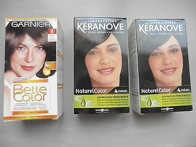 Lot De 3 Coloration Permanente Keranove Garnier Belle Color Chatain N°4 Neuve