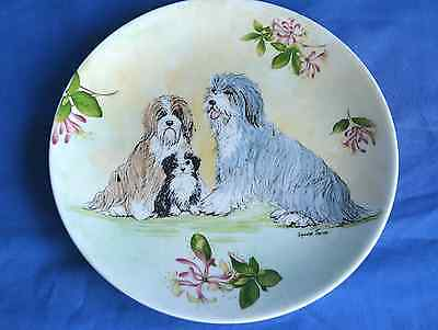 Hand painted china plate with Bearded Collie Family Group - signed Sylvia Smith