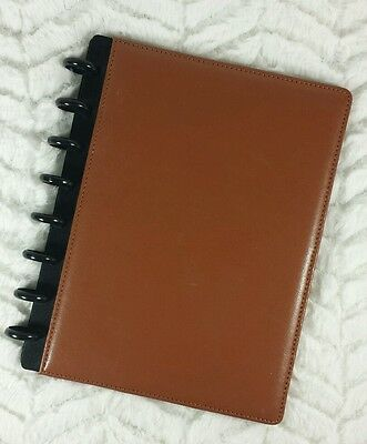 "Staples M Arc Customizable Leather Notebook System Brown 6-3/4""x8-3/4"" 20000"