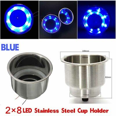 2x 12V Blue 8LED Recessed Stainless Steel Cup Drink Holder for Car Marine Boat