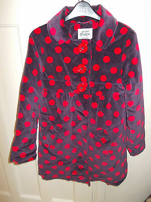 Mini Boden Girls age 9-10 years velvet coat purple red spots spotty HARDLY WORN!