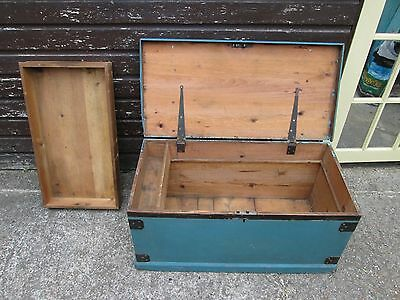 Chest Carpenters Tool Seamans or shipwrights trunk  COFFEE TABLE TOYBOX OTTOMAN