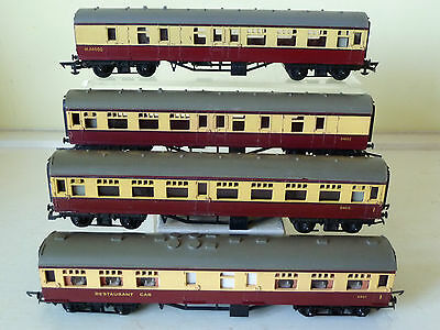 4 Tri-ang BR maroon+cream coaches: composite/restaurant/brake 3rd, unboxed, good