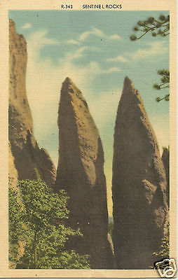 Sentinel Rocks Watchmen of the Forest, Colorado, Linen Postcard