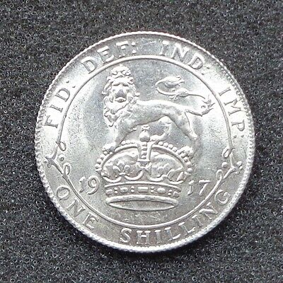 1917, George V Shilling, Lustrous Uncirculated