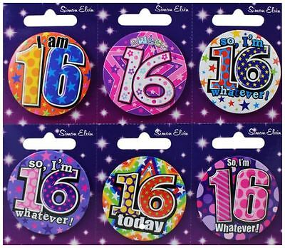 16TH BIRTHDAY BADGE. 16th Birthday Party Badge. Boy & Girl Badges.
