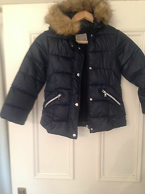 Zara Girls Navy Padded Jacket with fur collar size 7 years