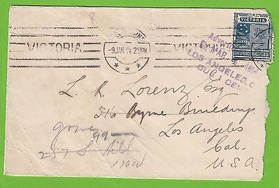 N 2184 Victoria state stamp on 1914 cover to USA; hard to find.  1 cent USA due