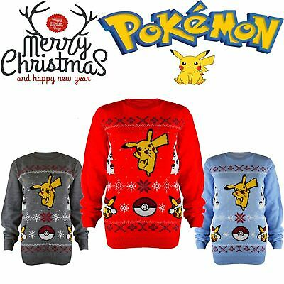 Kid Boys Girls Children Knitted Xmas Pokemon Christmas Dancing Pikachu Jumper UK
