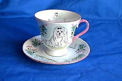 Handpainted china Cabinet Cup & Saucer with Maltese Terriiers -  Sylvia Smith