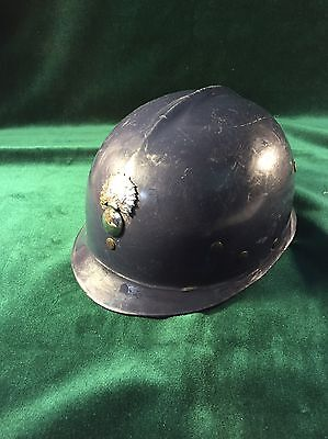 Vintage East German Fire Helmet with Liner and Chin Strap