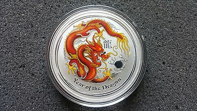 2012 Australia Lunar Year Of The Dragon Colored 1oz .999 Silver