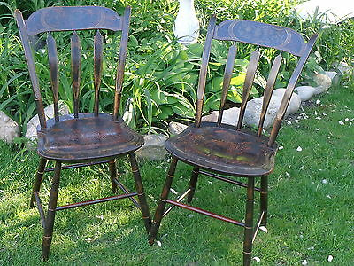 Pair--EARLY New England Arrow Back Chairs/Old Stenciling