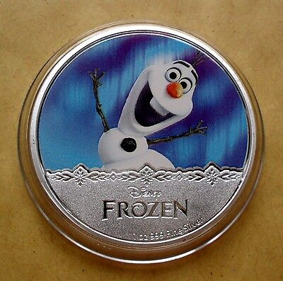 New Zealand 2016 Silver Plate Disney Frozen Olaf Coin In Capsule