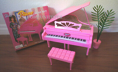 GLORIA DOLL HOUSE FURNITURE SIZE PIANO W/Chair & Plant PLAYSET FOR DOLLS (9701)