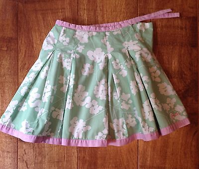 Joules Green & Pink Pleated Floral Skirt Age4-5