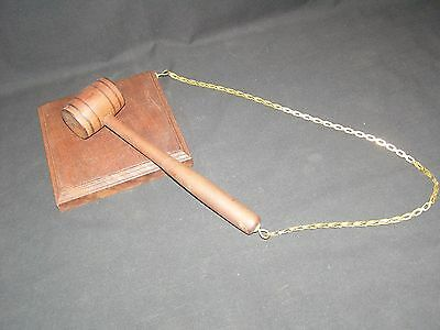 Wooden Gavel Attached To Wooden Sound Block Gold Tone Chain
